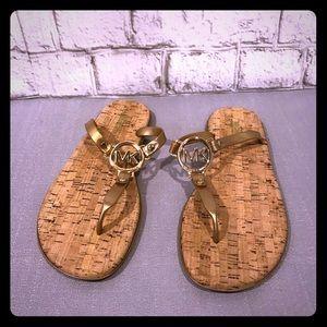 Michael Kors Gold + Cork Charm Jelly Sandals Flops